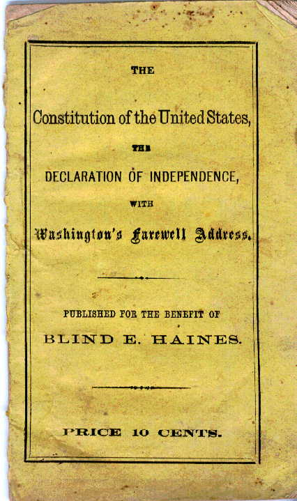 Cover of Pamphlet for the Support of Blind E. Haines and Family